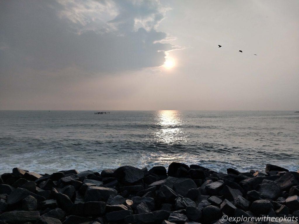 The rocky beach of Pondicherry