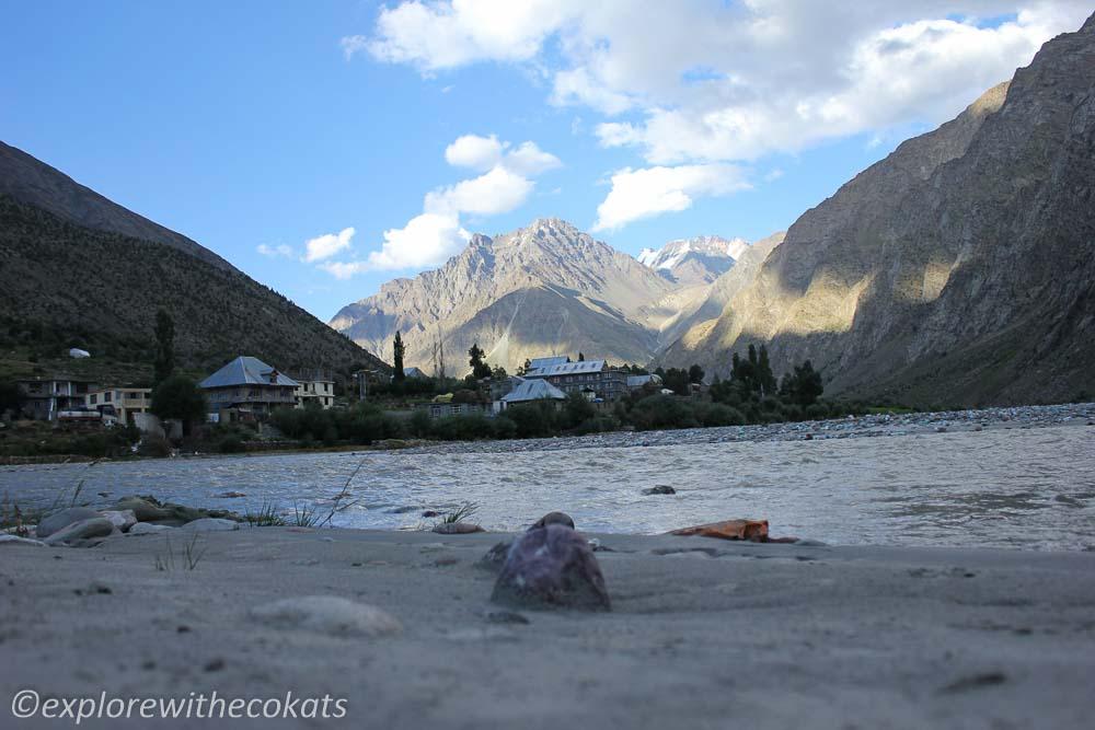 Jispa on Chandrabhaga river enroute Manali - Leh road trip